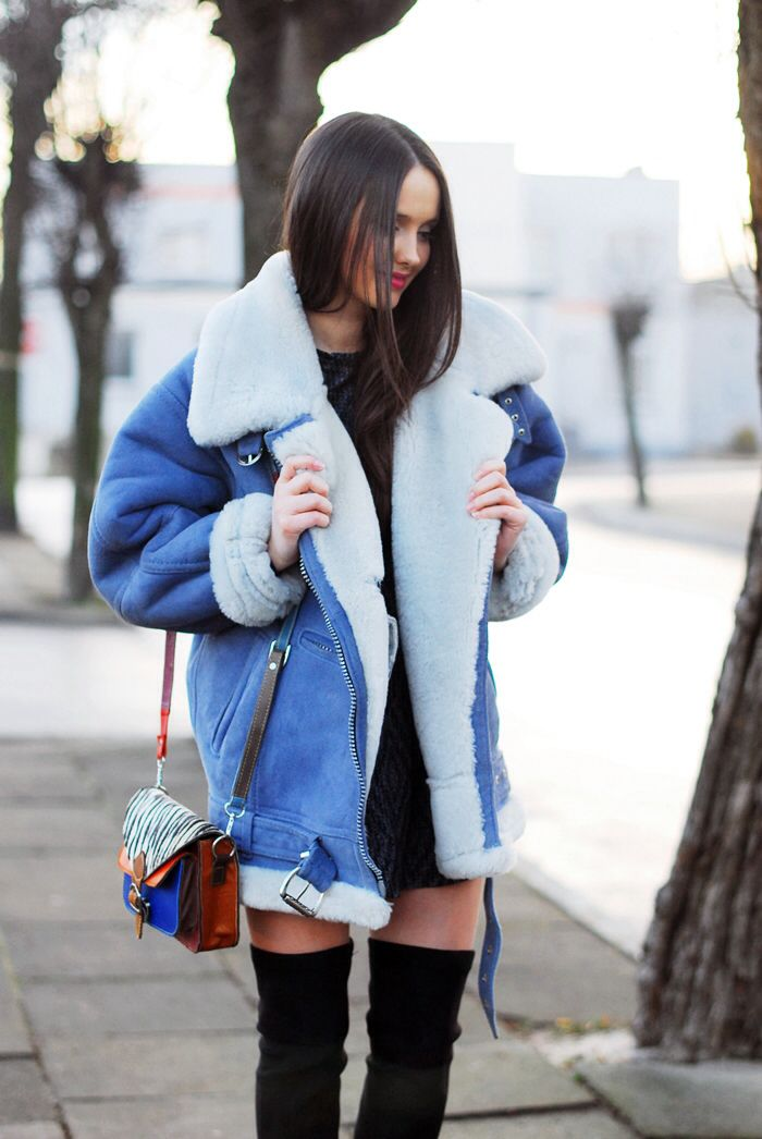 Loving this oversized collar look #style #chic #shearling #winter