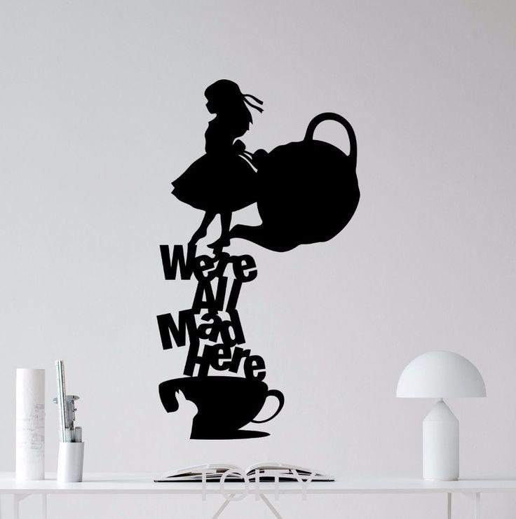 Алиса В Стране Чудес Стикер мы Все Здесь Сумасшедшие Цитата Этикеты Винила Силуэт Искусство Декор Главная Дети Спальня Детская фрескакупить в магазине X City Stickers DecalнаAliExpress