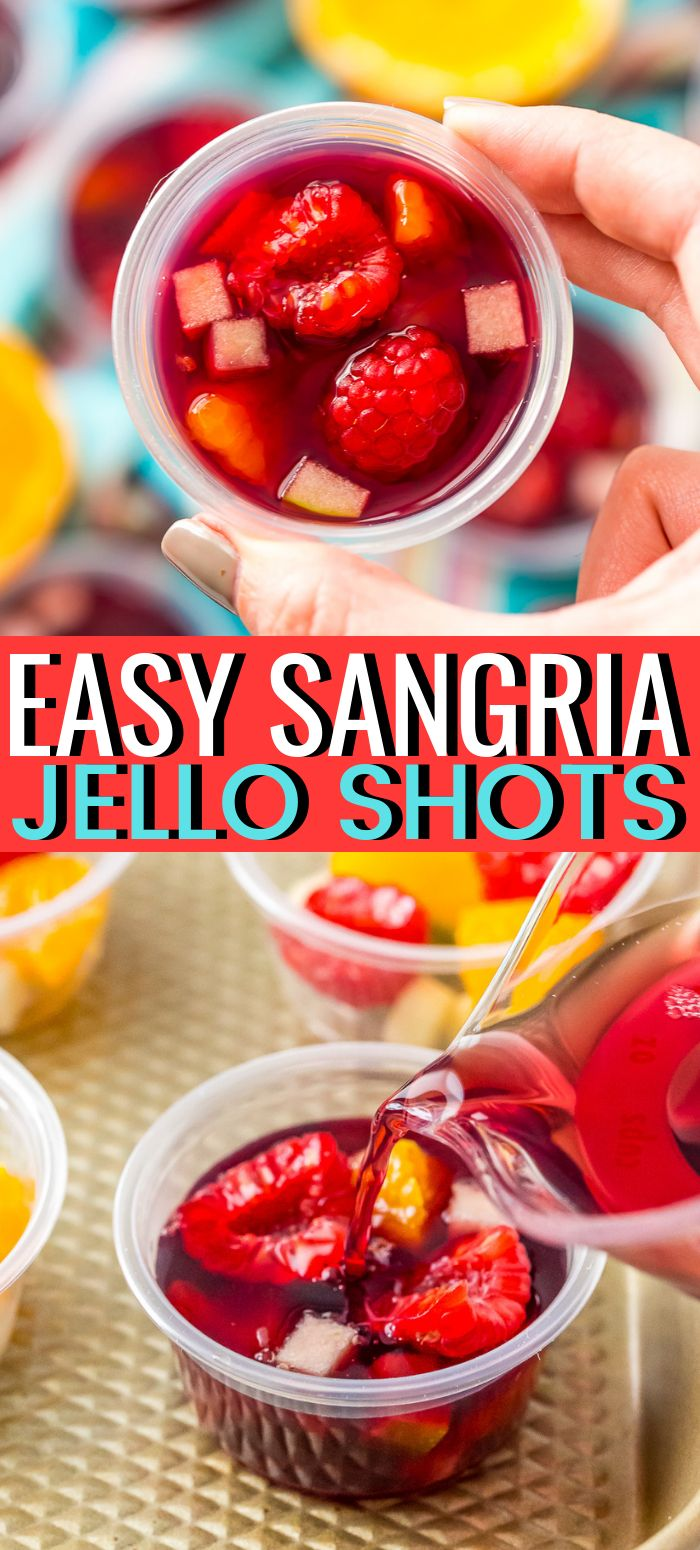 Sangria Jello Shots recipe turn a classic wine punch into a fun party shot! These cocktails are grea…