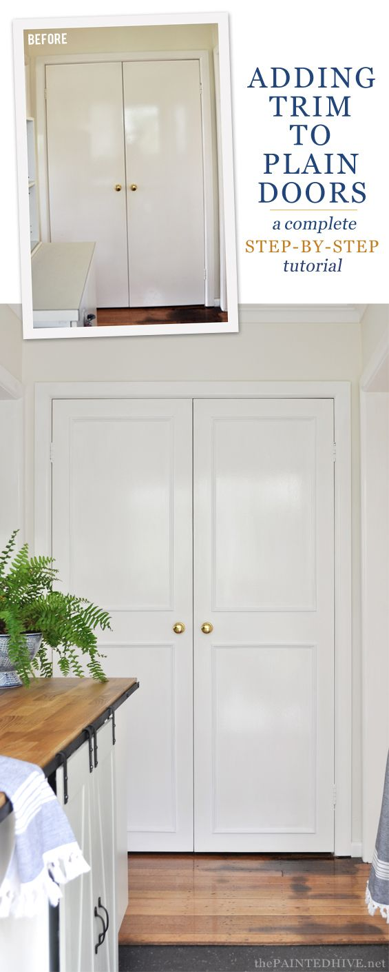 Learn how to dress-up boring interior doors with easy DIY trim