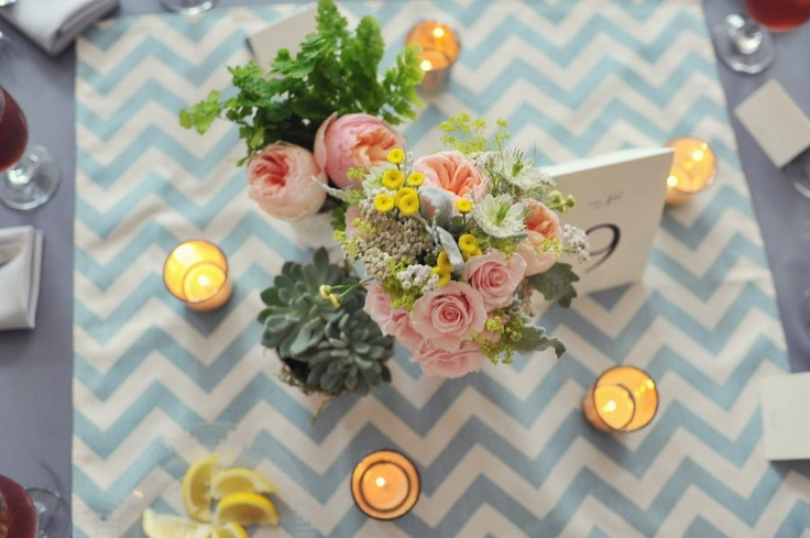 This chevron tablecloth looks so good with these soft colors. I love the simplicity and sweetness of this wedding aesthetic.