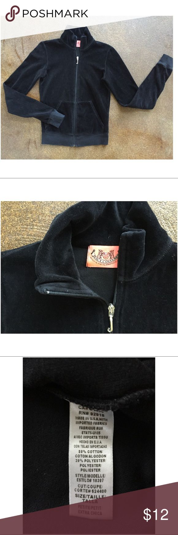 JUICY COUTURE Velour Jacket PETITE XS Black velour Juicy Couture zip up jacket. Has no hood. This jacket is labeled as PETITE XS. It is tiny! It could actually fit a child size 12 or 14.  Please ask questions prior to purchase.  Perfect condition. Juicy Couture Other