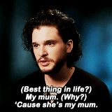 """Get to Know Me Meme: [3/10] Celebrity Crushes: Kit Harington It's weird, this double personality – being a character. [On occasion, fans will yell out] ""Bastard!"" I can't tell whether they're talking..."