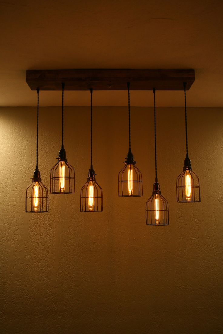 Industrial Chandelier 6 Cage Ceiling Fixture With 36