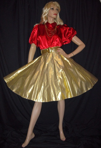 eeefcb784f82 Christmas New Year Gold Lam'E Skirt Red Satin Square Dance Blouse Belt L XL  | eBay | Style | Red satin, Gold lame, Skirts