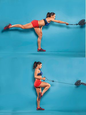 Try the FLAMINGO CABLE ROW exercise to work your core, legs and glutes and tone your whole body
