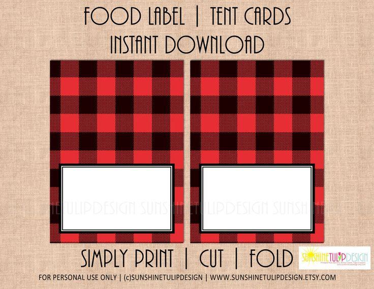 Printable Food Label Tent Cards Buffalo Plaid Christmas