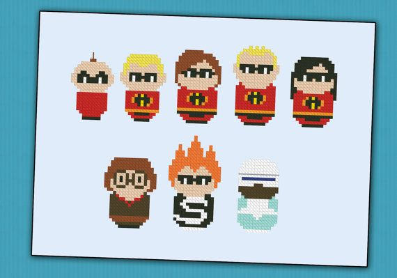 The Incredibles  parody  Cross stitch PDF pattern by cloudsfactory, $5.00