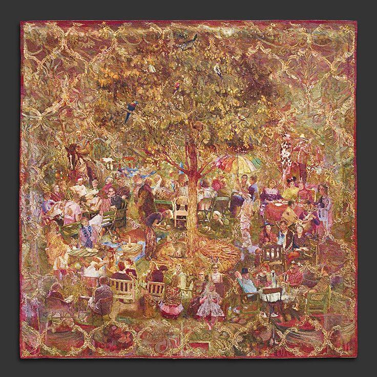 Annika Ekdahl, The Theatre in the Park, 300 x 300 cm. Linen warp, weft: wool with golden threads.