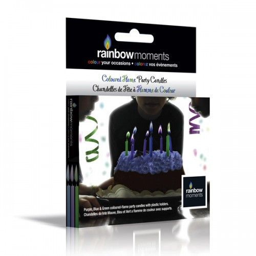 Rainbow Moments Color Flame candles in blue, purple and green. Fits perfectly with any theme for boy's birthday parties!