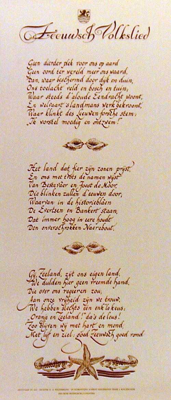 Het Zeeuws Volkslied van D. A. Poldermans stamt uit 1919. Affiche (ZB/Beeldbank Zeeland)