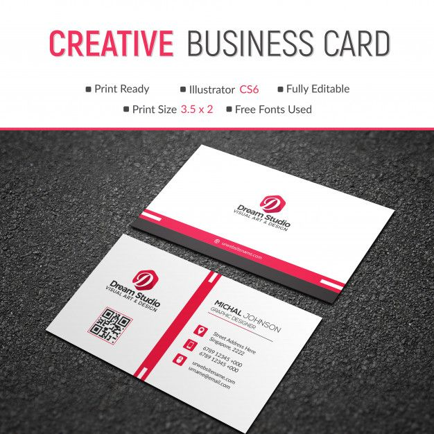 Red And White Business Card Business Card Mock Up Modern