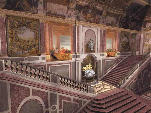 Escalera de Embajadores, perdida en 1756. Maqueta, Versalles.