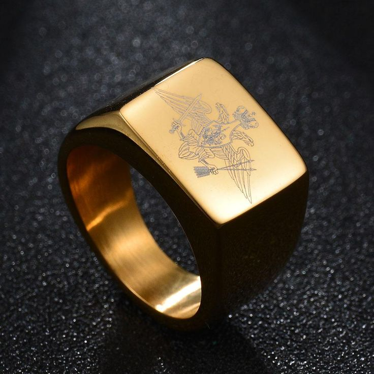 Polished Stainless Steel Eagle Ring