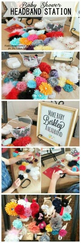 Headband making station for a baby shower what a great activity.