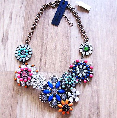 New lattice Flower Blue blooms Crystal statement J.crew necklace
