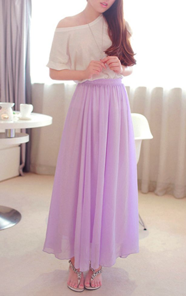 Lavender Chiffon Maxi Skirt. Spring Summer Long Skirt. Purple Skirt