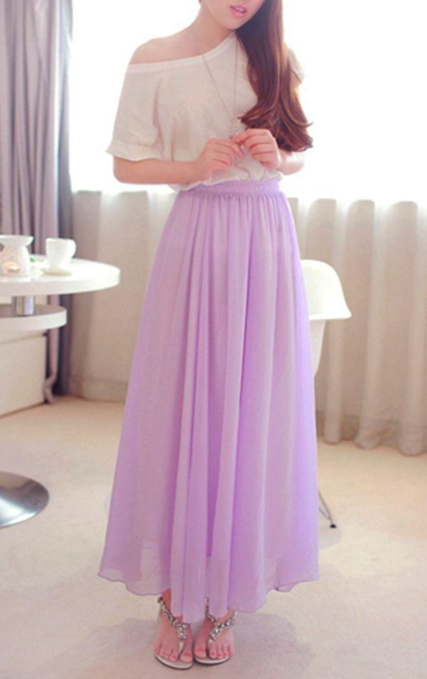 lavender chiffon maxi skirt summer skirt