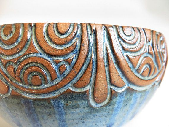 Hand Carved MultiRound Line Blue Bowl by EKSPottery on Etsy