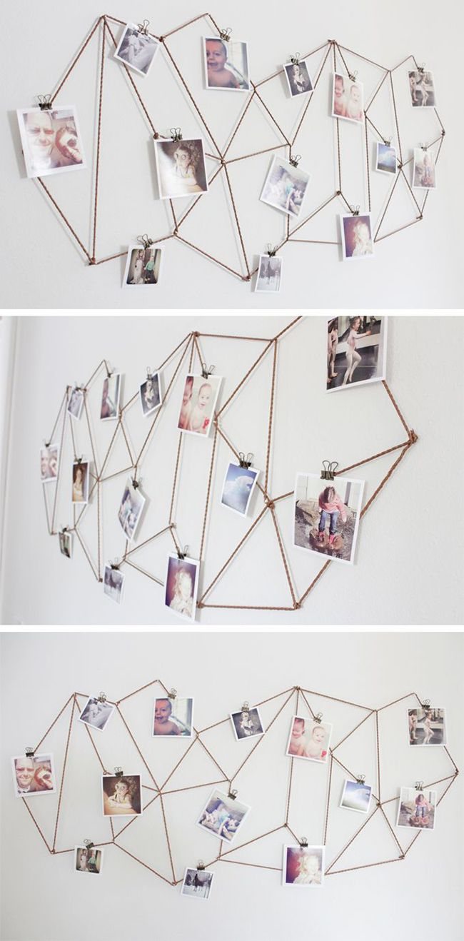 Geniale DIY-Idee mit Kordel oder Draht für eure Foto-Wand!