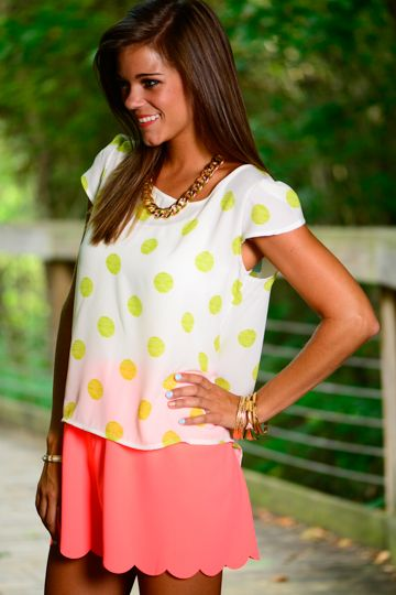 This top is too cute!! The ivory material with the lime polka dots is so adorable! The dainty sleeves and the subtle scoop neck makes this top precious!