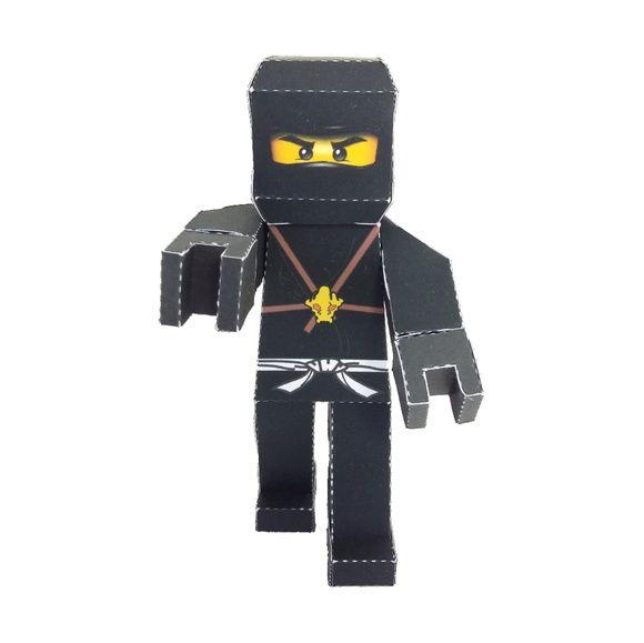 Personagem 3D Ninjago Cole em papel