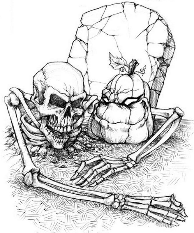 Skeleton in Grave Printable | Halloween coloring pages ...