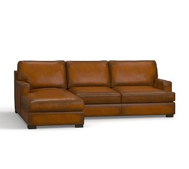 Townsend Square Arm Leather Right Chaise Sofa Sectional, Polyester Wrapped Cushions, Leather Burnished Bourbon