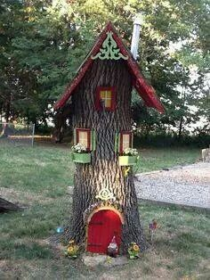 Gnome home! Great idea to do with a tree stump! !
