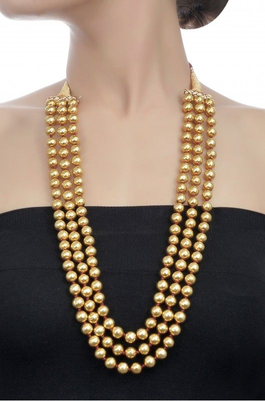 Silver Gold Plated Three Layer Round Bead Necklace