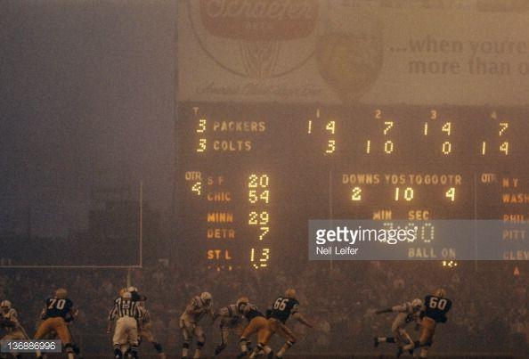 Baltimore Colts vs. Green Bay in the fog at Memorial Stadium, Baltimore. (12-12-65)
