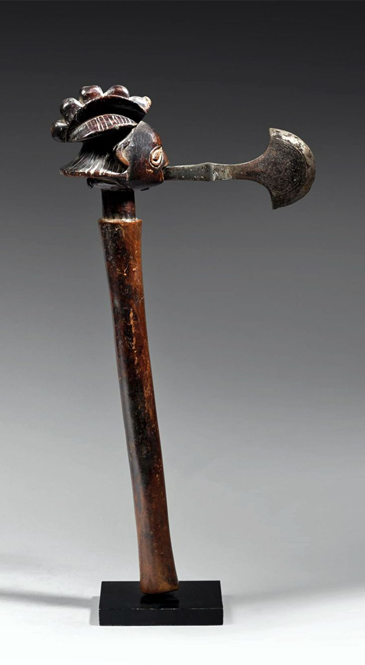 Africa | Ceremonial axe from the Luba-Shankadi people of DR Congo | Wood and metal | Such axes were prestige objects not only of Luba kings and chiefs, but also high ranking officials, female mediums, members of secret societies and diviners.  The were won on the shoulder to indicate the hierarchical position, or held during dances and other ceremonies related to the court.