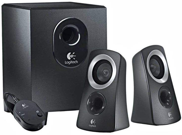 Surround Sound Speaker System W/Subwoofer  Stereo for Computer 25 Watts Black  #Logitech