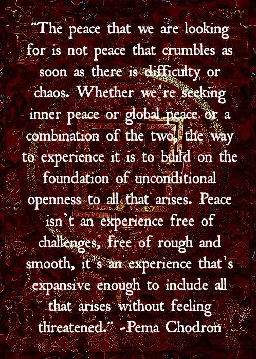 """""""Peace...Unconditional openness to all that arises..."""" ~Pema Chödrön  ...wow, this is my new favorite definition of peace, beautiful...namaste...<3"""