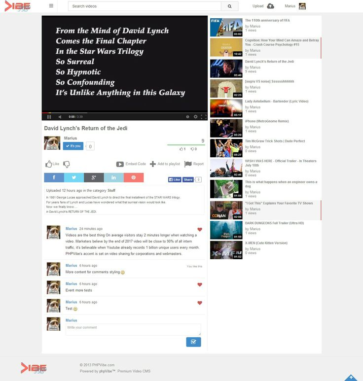 Video Page for the PHPVibe video script's new theme.