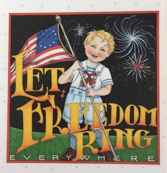 Handmade Fridge Magnet-Mary Engelbreit Artwork-Let Freedom Ring