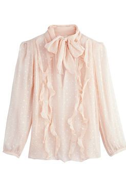 LONG SLEEVE METALLIC DOT CLIP TOP  Unapologetically feminine, this ballet pink blouse is sprinkled with metallic dots and finished with ruffles along the bodice. High tie-neck. Sheer sleeves.  http://www.rebeccataylor.com/long-sleeve-metallic-dot-clip-top/816217B188.html