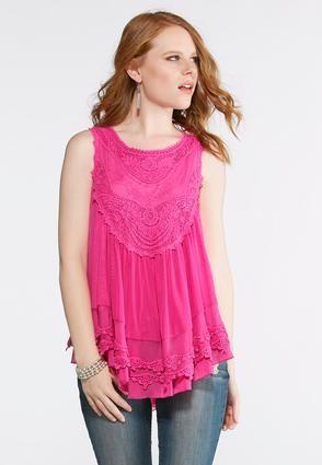 978b0b7a015 Cato Fashions Plus Size Mesh Crochet Layered Top  CatoFashions ...