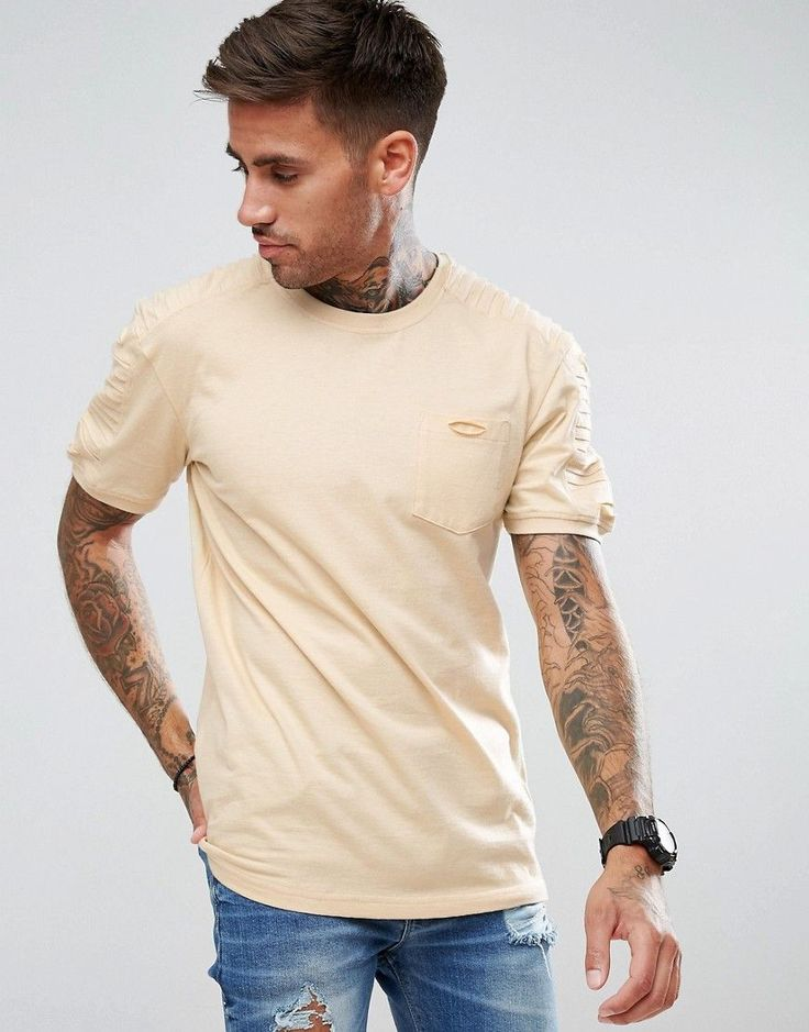 boohooMAN Longline Biker T-Shirt With Ribbed Shoulders In Beige - Tan