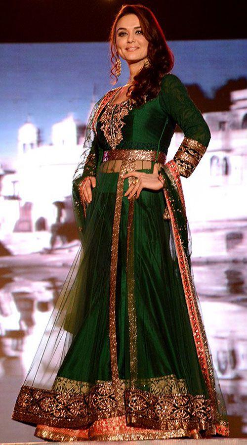 Beautiful Preity Zinta Green Replica Lehenga With Side Cut Long Choli BP1219  Go…