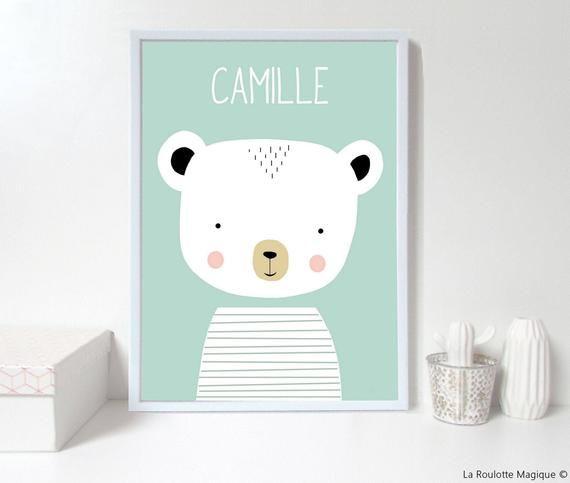 Custom Baby Nursery Wall Art Bear Nursery Print Personalised Wall Print Custom Name Green Nursery Art