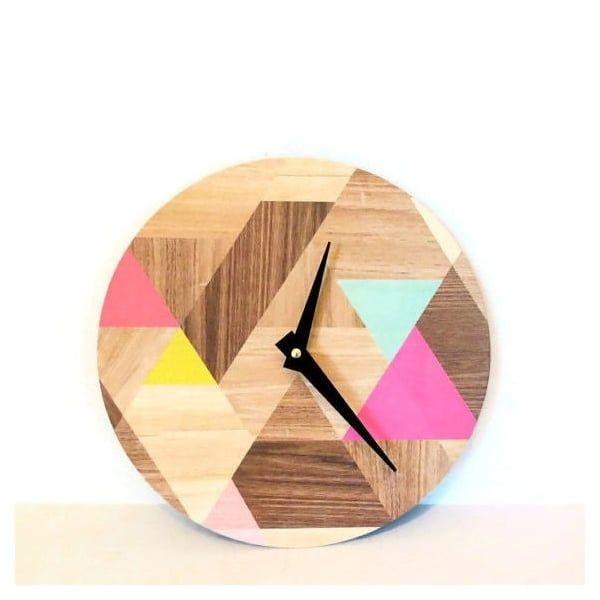 Geometric Wood Effect Vinyl Clock