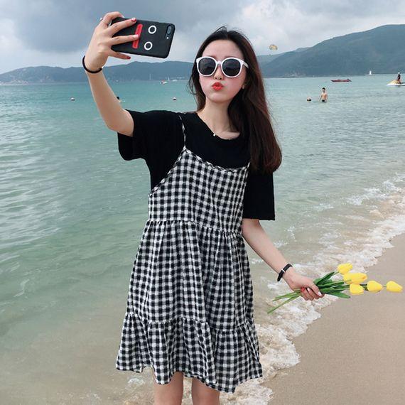 새로운 여름 2017 여성의 새로운 도착 느슨한 작은 신선한 격자 무늬 원피스 학생 드레스 인형 드레스는 얇은했다