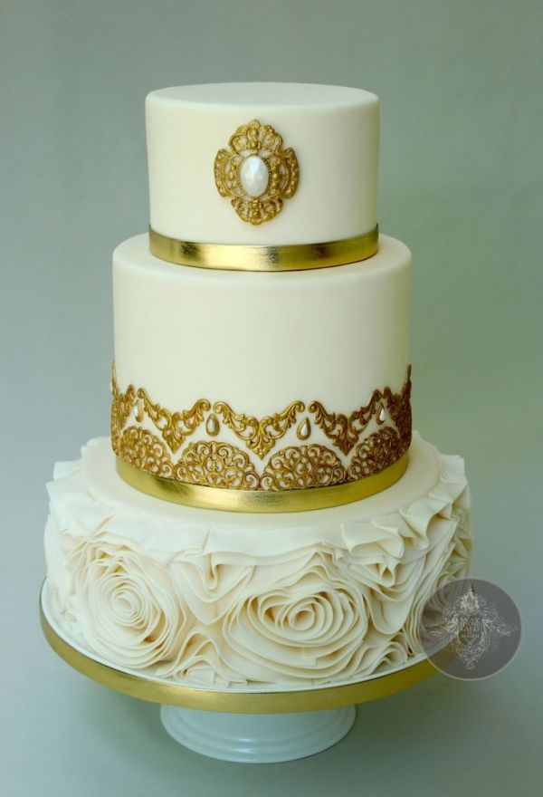 Gorgeous gold & white wedding cake b Way Beyond Cakes by dianne