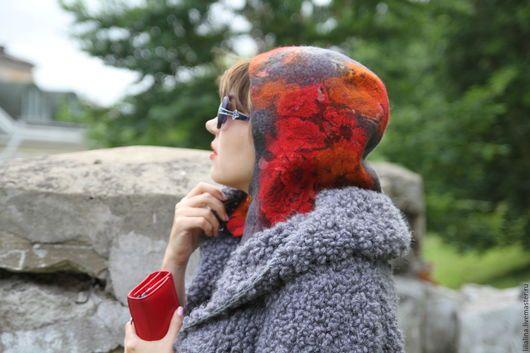 Капюшоны ручной работы. Капюшон, капор валяный Осенние цветы. ELF's Felt (lilialina). Ярмарка Мастеров. Шапка валяная