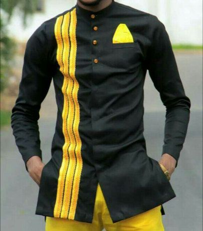Here we go again with this stylish and sleek look for the men out there who want to identify with Africa. The long sleeve shirt and trouser combination highlights a black top with bits of yellow designs in them and full yellow bottom/trousers. Its a must get for the trend setting men out
