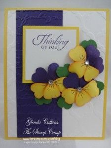 stampin up pansy card   Yellow and Eggplant Pansy