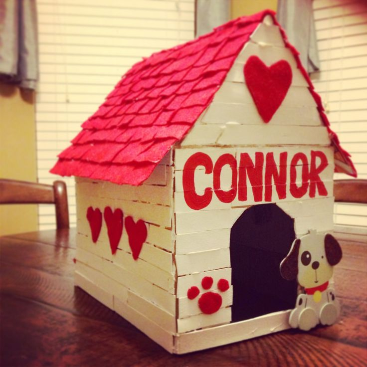 Valentine Decorated Boxes: Our Puppy House Valentine Box