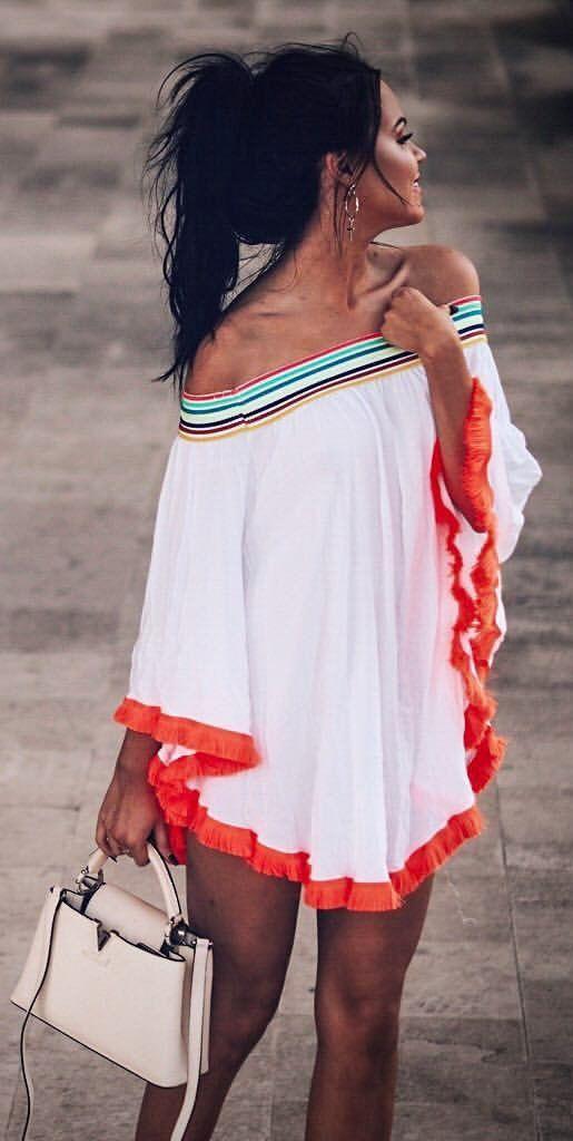 #outfits #summer blanco impreso fuera del hombro vestido beige + bolso de mano