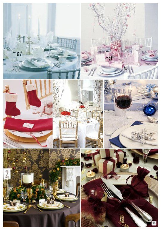 Mariage hiver couleurs decoration table blanc rose vert - Decoration table de noel rouge et or ...
